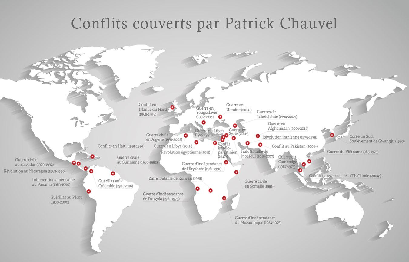 Carte des conflits couverts par Patrick Chauvel