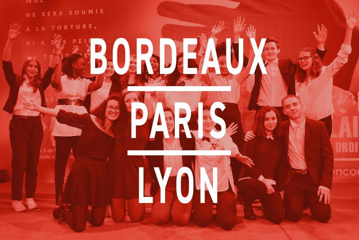 Les finalistes de Bordeaux, Paris, et Lyon